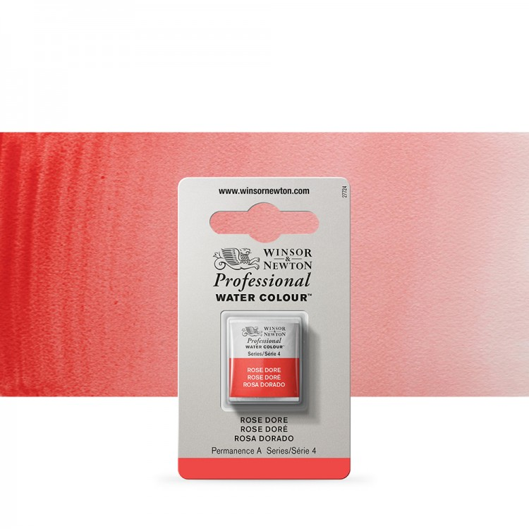 Winsor & Newton : Professional Watercolour Paint : Half Pan : Rose Dore