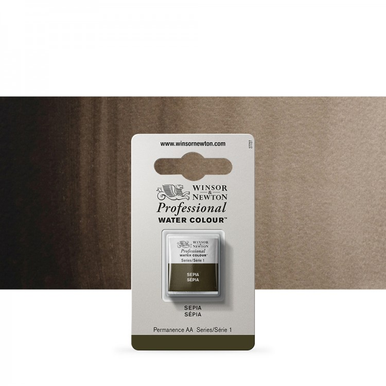 Winsor & Newton : Professional Watercolour Paint : Half Pan : Sepia