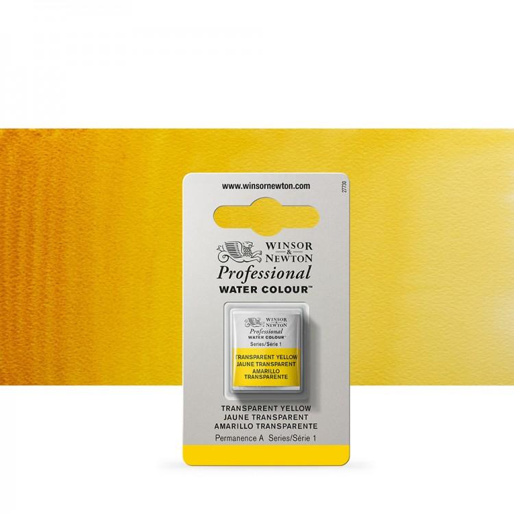 Winsor & Newton : Professional Watercolour Paint : Half Pan : Transparent Yellow