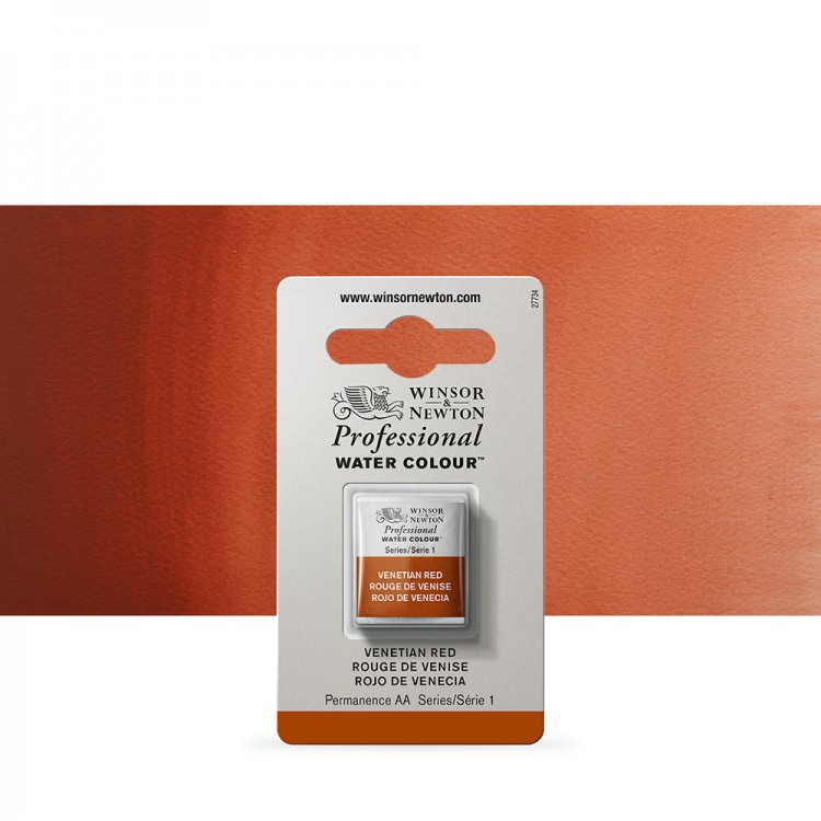 Winsor & Newton : Professional Watercolour Paint : Half Pan : Venetian Red
