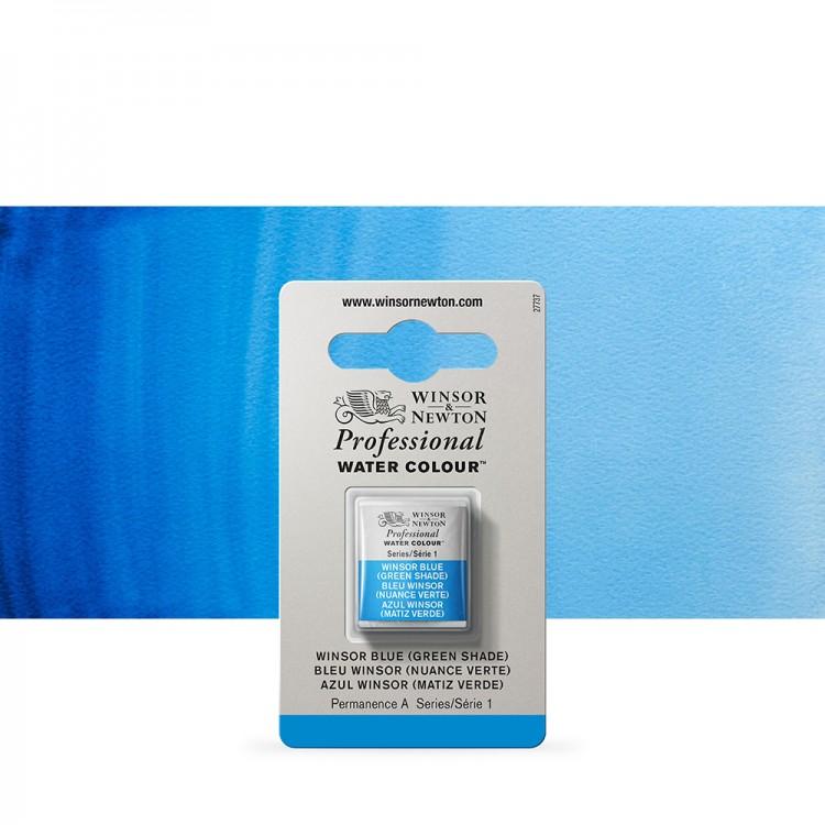 Winsor & Newton : Professional Watercolour Paint : Half Pan : Winsor Blue (Green Shade)
