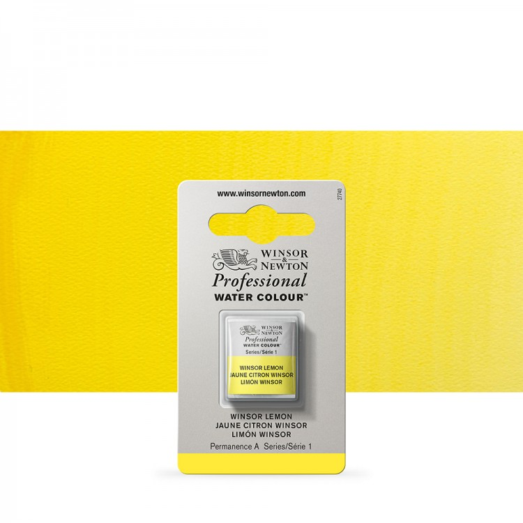 Winsor & Newton : Professional Watercolour Paint : Half Pan : Winsor Lemon