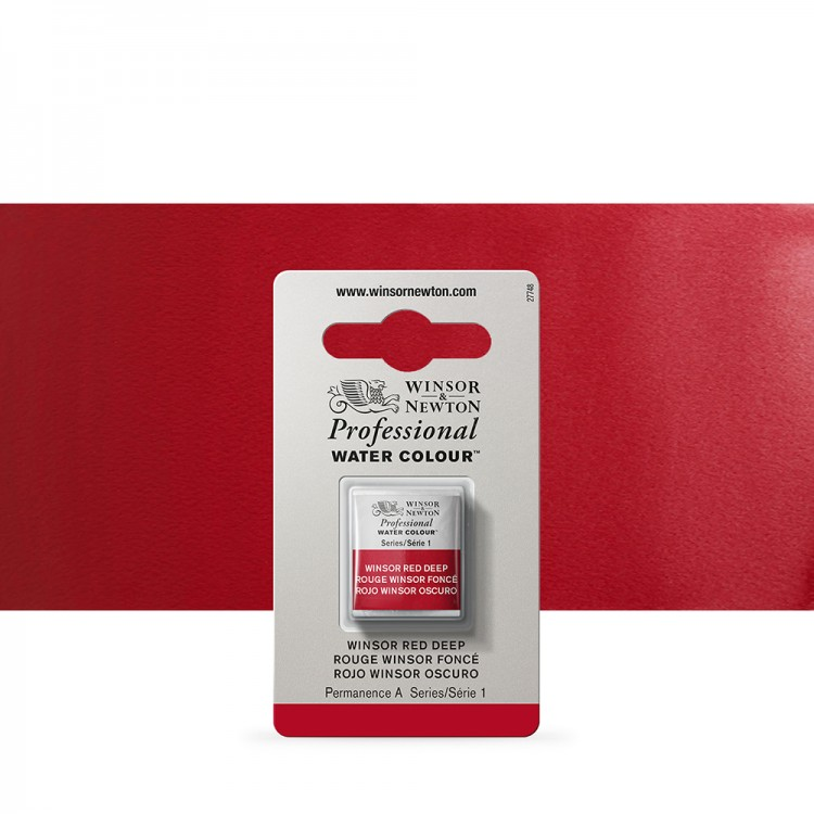 Winsor & Newton : Professional Watercolour Paint : Half Pan : Winsor Red Deep