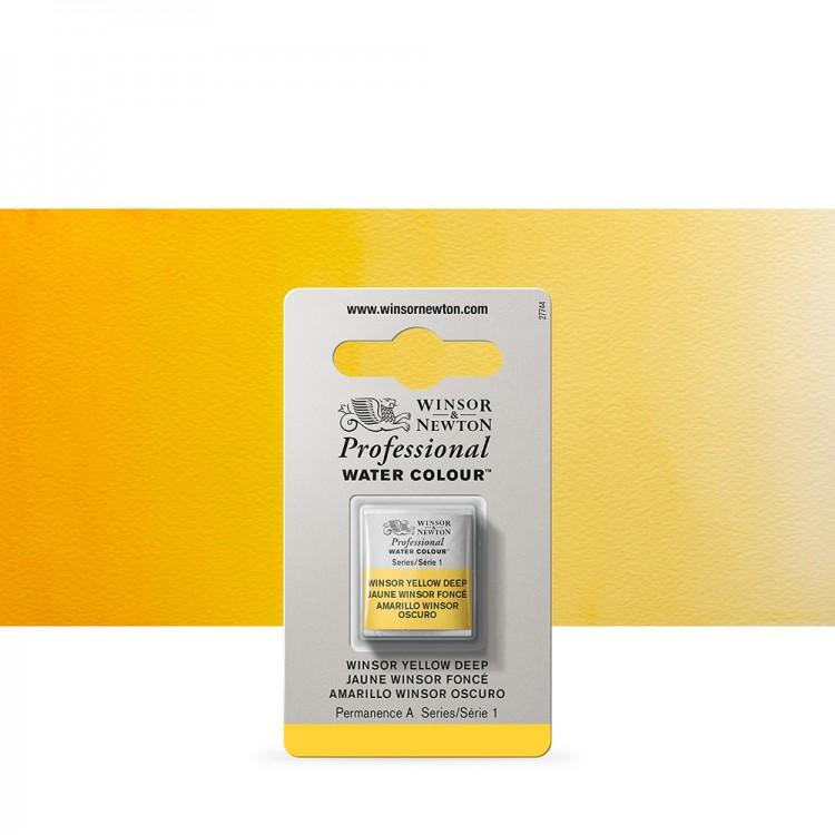 Winsor & Newton : Professional Watercolour Paint : Half Pan : Winsor Yellow Deep