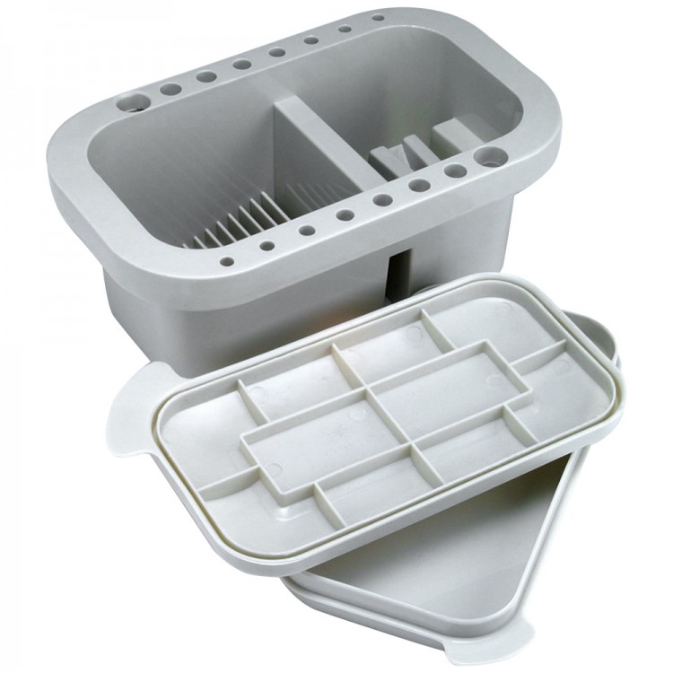 Jakar : Rectangular brush tub with integrated palette in lid