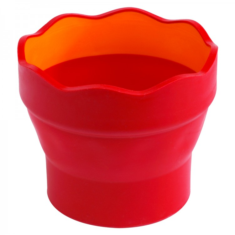 Faber Castell : Clic & Go Foldable Water Pot & Brush Holder : Red