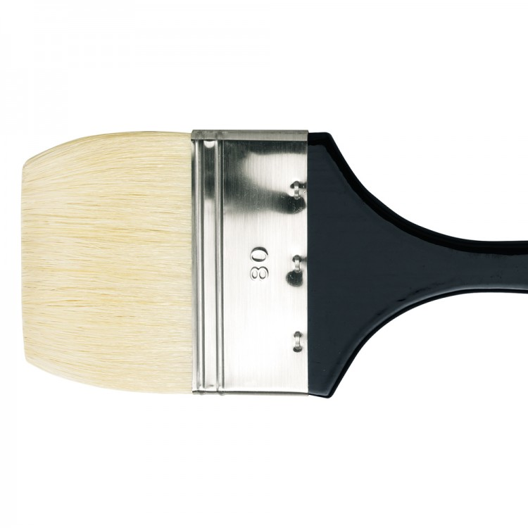 Da Vinci : Long Handled Flat Bristle Brush : 390mm : Series 7055 : Size 80mm