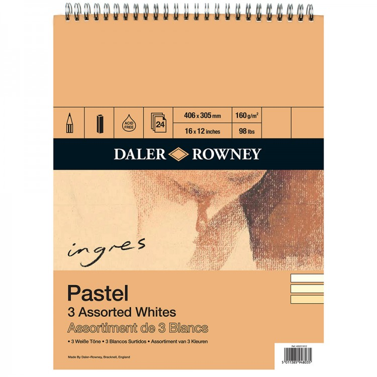 Daler Rowney : Ingres Pastel Papers : Spiral Pads : 3 Shades of White