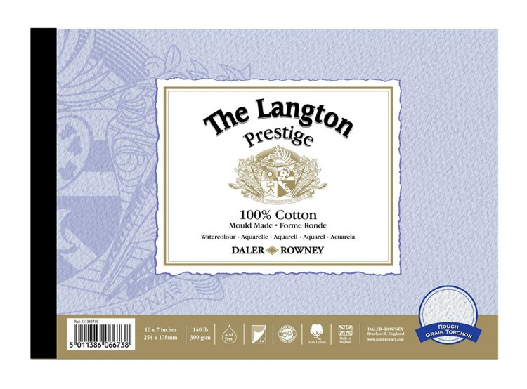Daler Rowney : Langton Prestige Watercolour Paper : Blocks and Pads : 12 Sheets