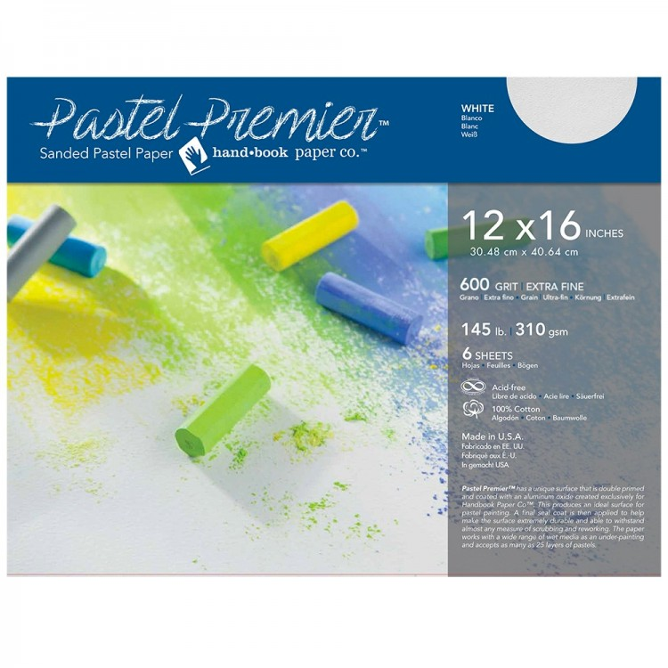 Global : Pastel Premier : Sanded Pastel Paper : Extra Fine Grit : 12x16in : Pack of 6 : White