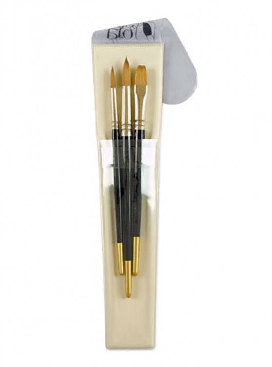 Pro Arte : Brush Wallet set - Prolene : 8-12 Rnd & 1/2 Flat