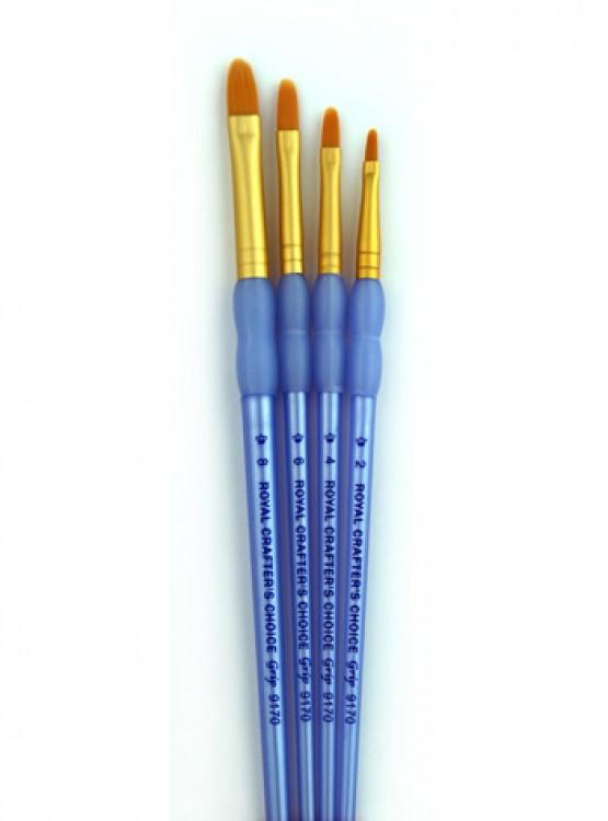 Royal Brush : 4Pc Golden Taklon Filbert Brush Set
