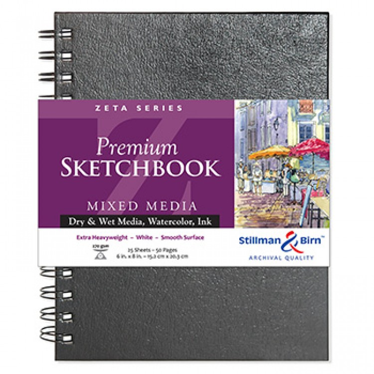 Stillman & Birn : Zeta Sketchbook 6 x 8in Wirebound 270gsm - Natural White Smooth