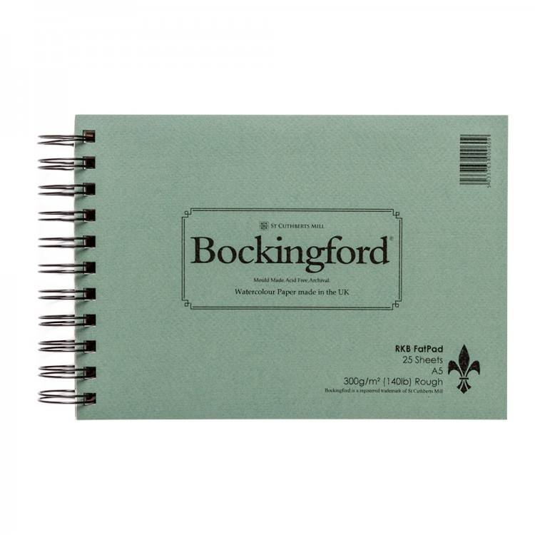 Bockingford : Spiral Fat Pad : 300gsm : A5 : 25 Sheets : Rough