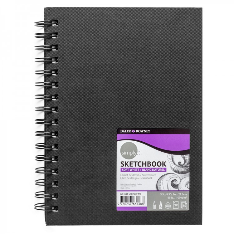 Daler Rowney : Spiral Bound Sketchbook : Black : 5.5x8.5in : 100gsm : 80 Sheets