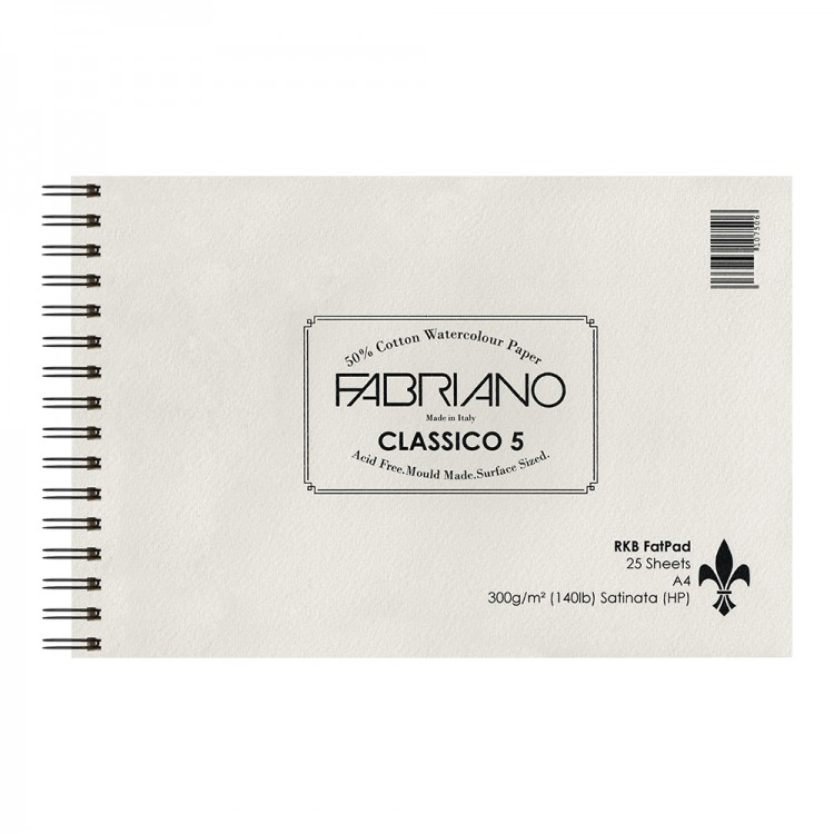 Fabriano : 5 : New 2016 Surface and New Sizing : Fat Pad : 25 Sheets : Wire Bound on Short Edge : A4