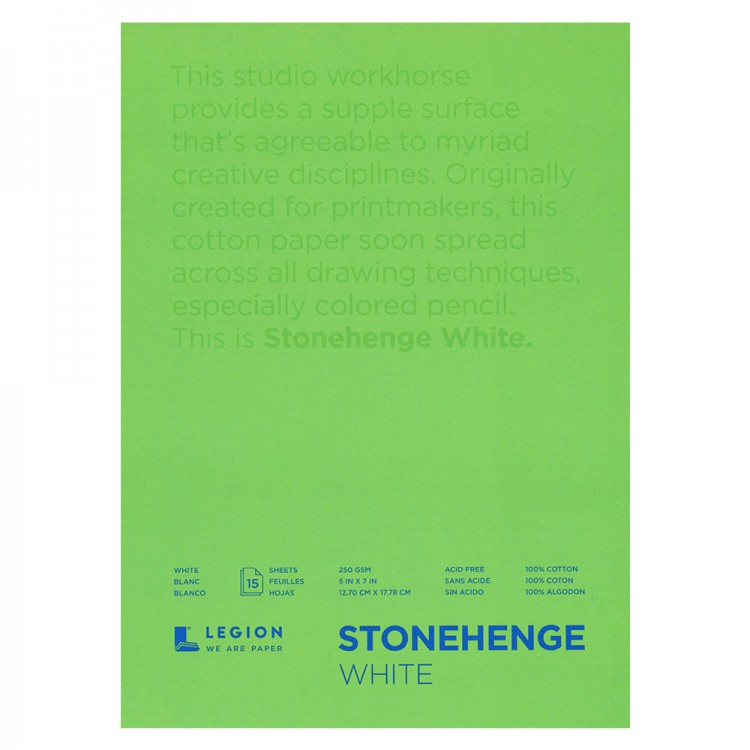 Stonehenge : Fine Art Paper Pad : 5x7in : 15 Sheets : White : Smooth / Vellum