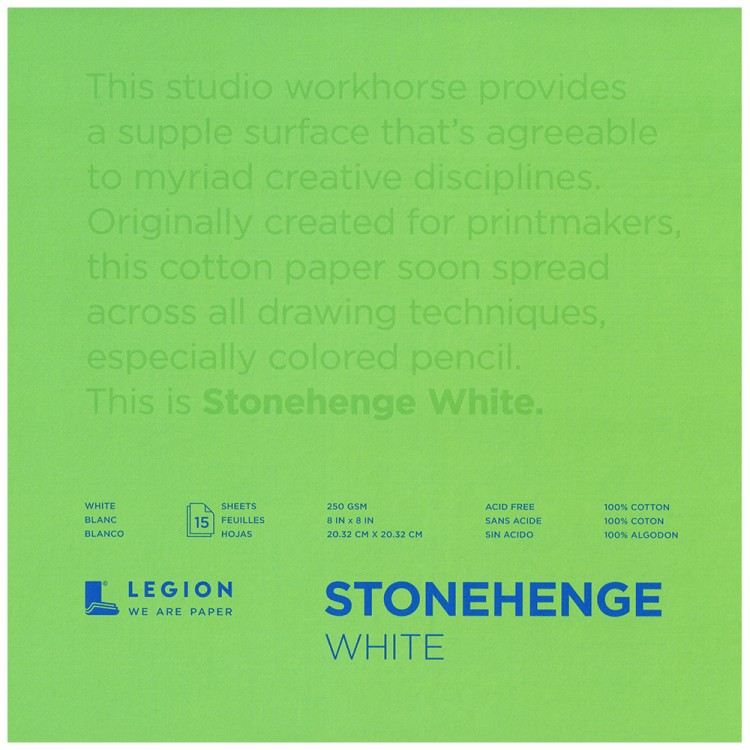 Stonehenge : Fine Art Paper Pad : 8x8in : 15 Sheets : White : Smooth / Vellum