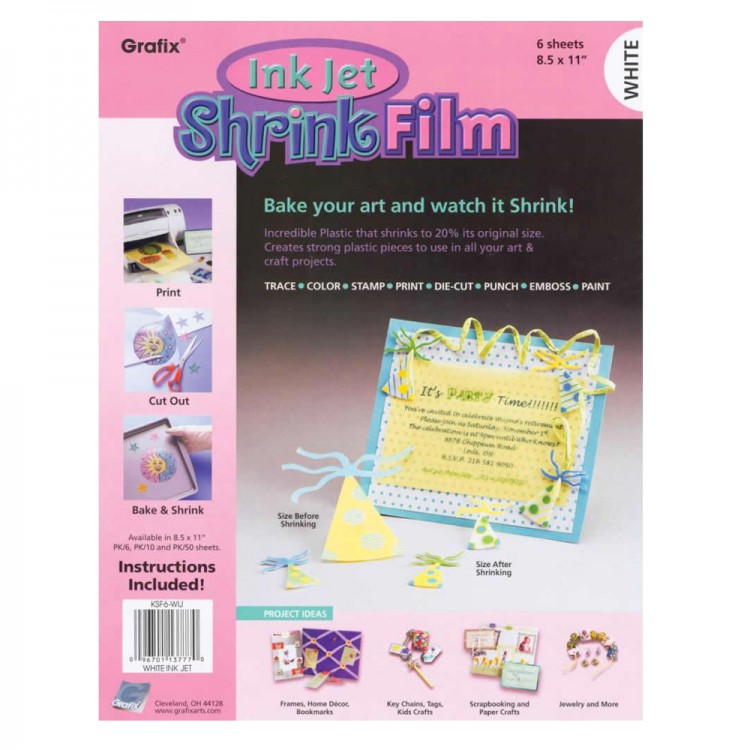picture relating to Printable Shrink Plastic identified as Grafix : Inkjet Printable Shrink Motion picture : A4 : 6 Pack : White
