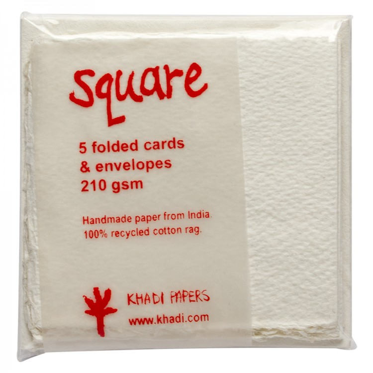 Khadi : White Watercolour Paint Blank Greeting Cards With Envelopes : 8x8cm : 5 Pack