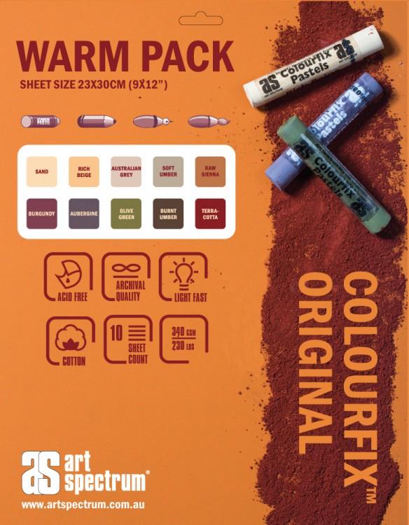 Art Spectrum : Colourfix Original : Pastel Paper : 340gsm : 23x30cm : Warm Tones : Pack of 10 Sheets