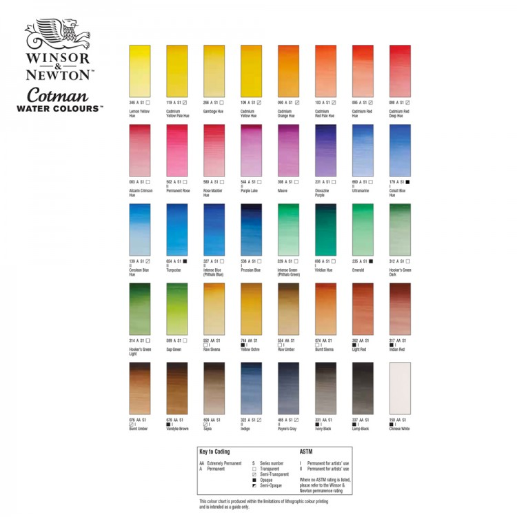 W&N : Cotman Hand Painted Colour Chart