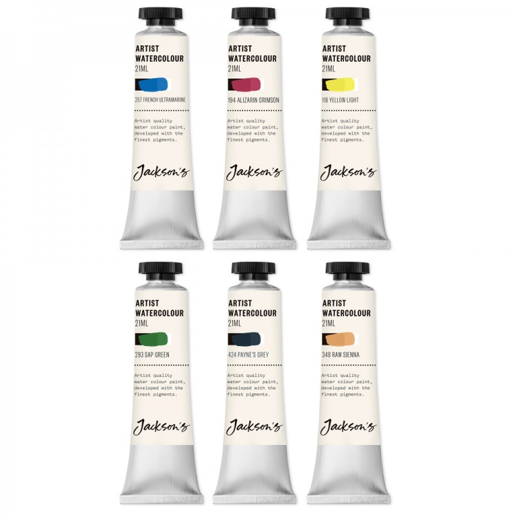 Jackson's : Artist Watercolour Paint : 21ml : Set of 6