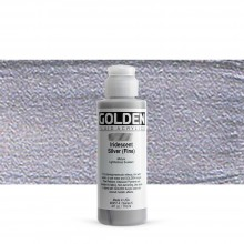 Golden : Fluid Acrylic Paint : 119ml (4oz) : Silver Fine Iridescent