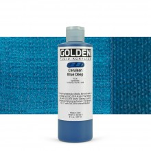 Golden : Fluid : Acrylic Paint : 236ml (8oz) : Cerulean Blue Deep