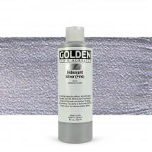 Golden : Fluid Acrylic Paint : 236ml (8oz) : Silver Fine Iridescent