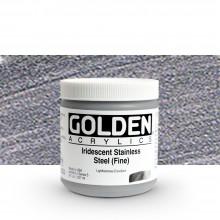 Golden : Heavy Body : Acrylic Paint : 236ml : Stainless Steel Fine Iridescent