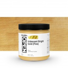 Golden : Open : Slow Drying Acrylic Paint : 236ml : Iridescent Bright Gold (Fine) VII