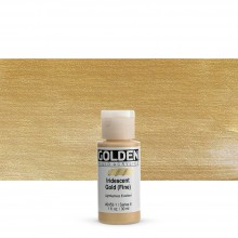 Golden : Fluid : Acrylic Paint : 30ml (1oz) : Gold Fine Iridescent