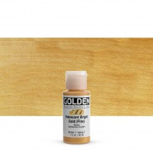 Golden : Fluid : Acrylic Paint : 30ml (1oz) : Bright Gold Fine Iridescent