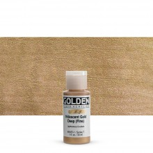 Golden : Fluid : Acrylic Paint : 30ml (1oz) : Gold Deep Fine Iridescent