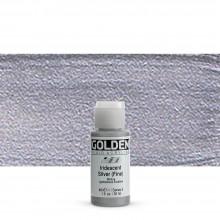 Golden : Fluid : Acrylic Paint : 30ml (1oz) : Silver Fine Iridescent