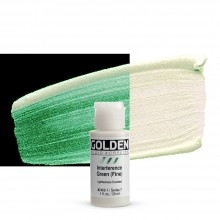 Golden : Fluid : Acrylic Paint : 30ml (1oz) : Green Fine Interference