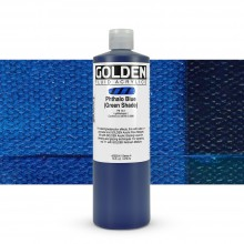 Golden : Fluid : Acrylic Paint : 473ml (16oz) : Phthalo Blue Green Shade