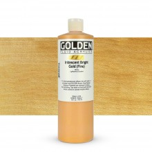 Golden : Fluid : Acrylic Paint : 473ml (16oz) : Bright Gold Fine Iridescent