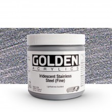 Golden : Heavy Body Acrylic Paint : 473ml : Stainless Steel Fine Iridescent