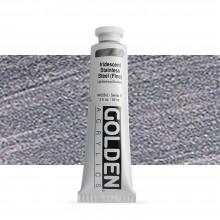 Golden : Heavy Body : Acrylic Paint : 60ml : Stainless Steel Fine Iridescent