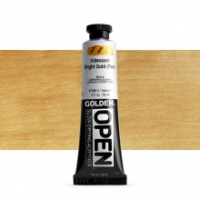 Golden : Open : Slow Drying Acrylic Paint : 59ml : Iridescent Bright Gold (Fine) VII