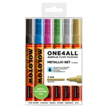 Molotow : One4All : 227HS : Acrylic Marker : Metallic Set of 6