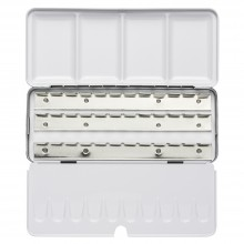 Jackson's : Empty Metal Watercolour Box : Holds 36 Half Pans or 18 Full Pans : With Fold-Out Palette
