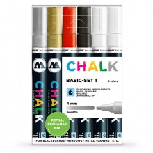Molotow : Chalk Marker : 4mm : Basic Set 1 : 6 Colours
