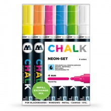 Molotow : Chalk Marker : 4mm : Neon Set : 6 Colours