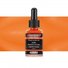 Schmincke : Aero Color Finest Acrylic Ink : 28ml : Total Cover : Naphtol Orange