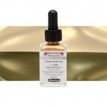 Schmincke : Aero Color Finest Acrylic Ink : 28ml : Aero Metallic Brilliant Gold