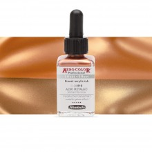 Schmincke : Aero Color Finest Acrylic Ink : 28ml : Aero Metallic Brilliant Bronze