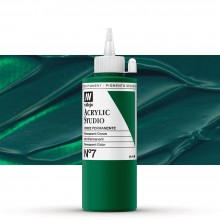 VALLEJO : STUDIO ACRYLIC PAINT : 200ML : PERMANENT GREEN